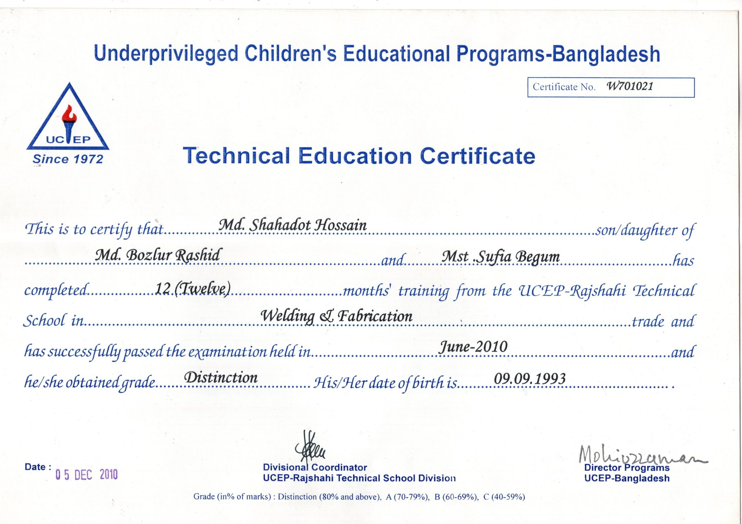 Welding and fabrication certificate
